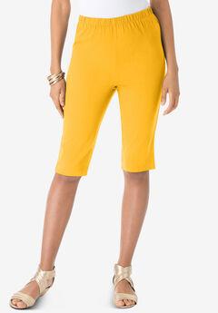 Pull-On Stretch Bermuda Jean Short, SUNSET YELLOW
