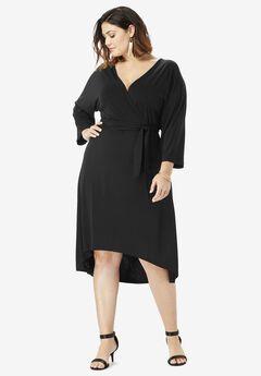 Dolman-Sleeve Wrap Dress with High-Low Hem, BLACK