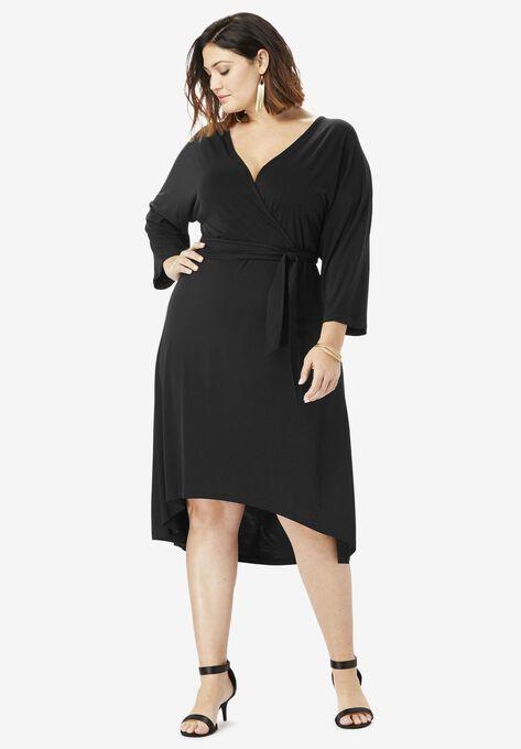 Dolman-Sleeve Wrap Dress with High-Low Hem