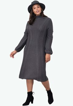 Mock Neck Sweater Dress, MEDIUM HEATHER GREY, hi-res