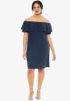 Off The Shoulder Ruffle Dress, NAVY, hi-res