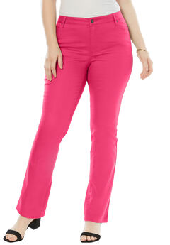 5-Pocket Bootcut Jeans with Invisible Stretch® by Denim 24/7®, RASPBERRY PINK, hi-res
