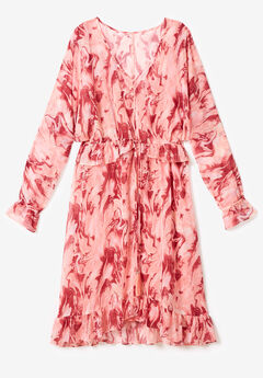 Ruffle Drawstring Dress with Tassels,