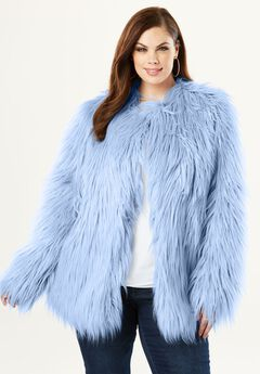 Faux Fur Jacket, SUNSET BLUE