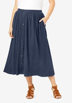 Button-Front Textured Skirt,