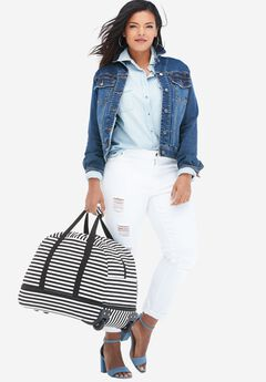 Striped Rolling Bag, BLACK STRIPE, hi-res