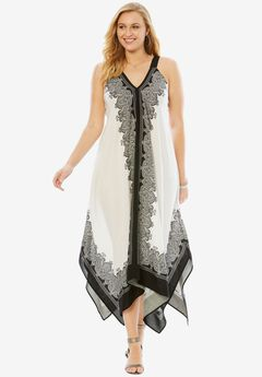 Scarf Print Maxi Dress By Denim 24/7, BLACK BORDER PRINT, hi-res