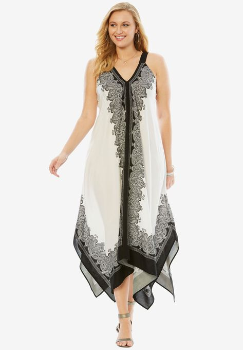 Scarf-Print Maxi Dress with Handkerchief Hem| Plus Size Dresses ...