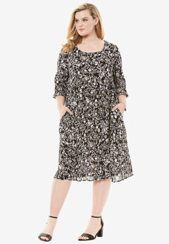 Cutout Crinkle Dress, BLACK SMALL FLORAL PRINT, hi-res