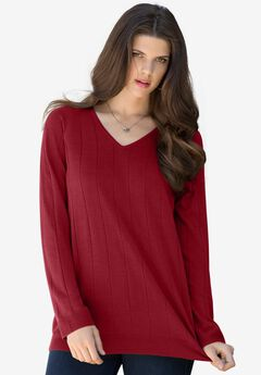 Fine Gauge Drop Needle V-Neck Sweater,