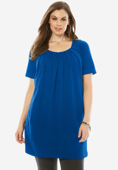 Pleat Neck Maxi Tunic, DARK SAPPHIRE, hi-res
