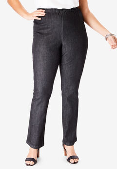 Straight-Leg Pull-On Stretch Denim Jean by Denim 24/7®, BLACK DENIM