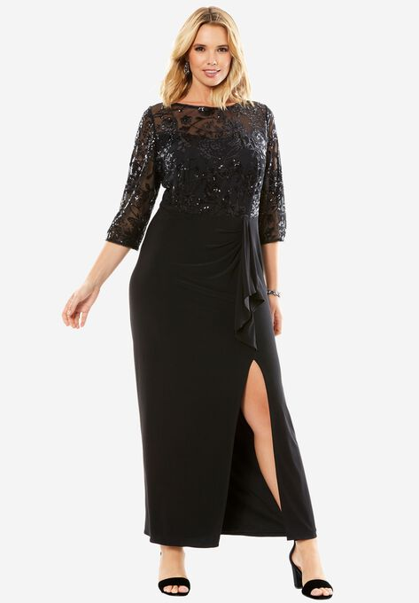 Long Evening Dress with Embellished Bodice| Plus Size Formal ...