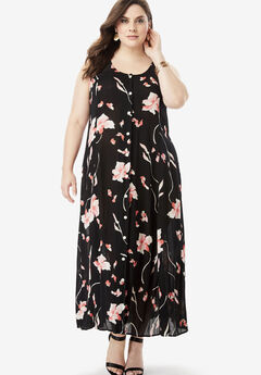 Button-Front Everywhere Crinkle Dress,