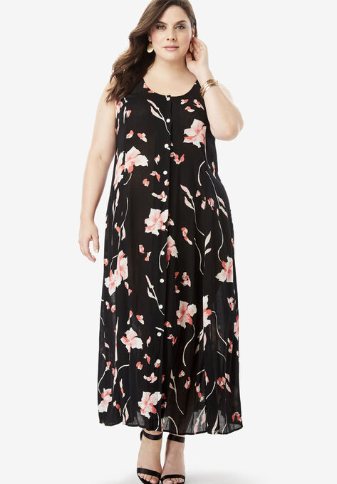 Button-Front Everywhere Crinkle Dress