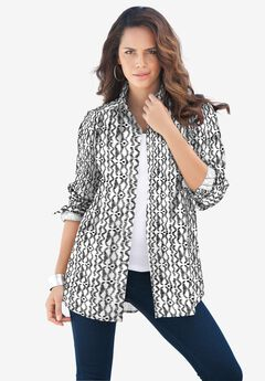 Long-Sleeve Kate Shirt, BLACK WHITE TRIBAL