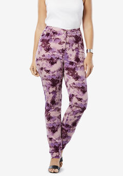 Velvet Jean by Denim 24/7®, PURPLE ABSTRACT BRUSHSTROKE
