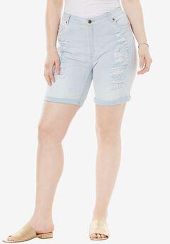 Distressed Shorts by Denim 24/7®, BLEACH, hi-res