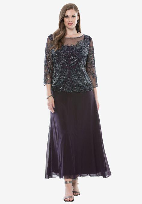 Sequin Bodice Dress by Pisarro Nights| Plus Size Formal ...