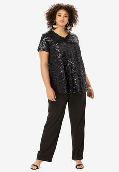 Trapeze Tunic & Pant Set with Sequin Embellishment, BLACK