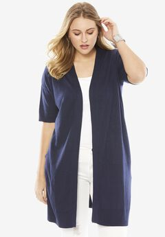 Essential Cardigan, NAVY, hi-res