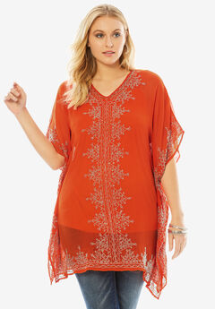 Hand-Beaded Caftan Top, FLAME RED, hi-res