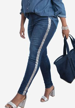 Sequin Stripe Skinny Jean by Denim 24/7®, DARK WASH, hi-res