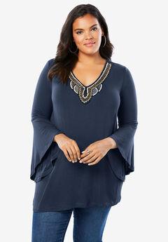 Embellished Drape Tunic,