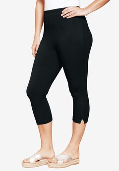 Stretch Capri Leggings, BLACK