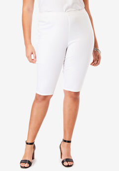 Pull-On Stretch Denim Bermuda Short by Denim 24/7®, WHITE DENIM