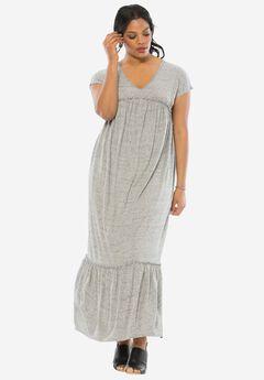 Trapeze Knit Maxi Dress, MEDIUM HEATHER GREY, hi-res