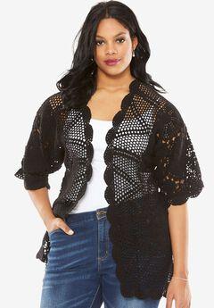 Hand Crochet Cardigan, BLACK, hi-res
