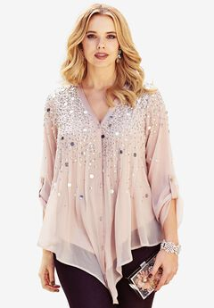 Glam-Embellished Maxi Tunic, ANTIQUE BLUSH, hi-res