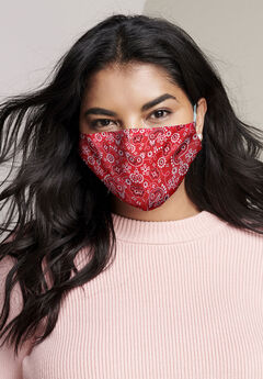 2-Layer Reusable Cotton Face Mask - Women's, RED BANDANA