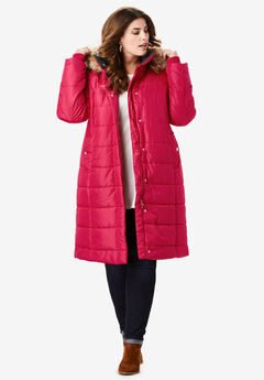 Mid-Length Quilted Parka with Hood, CLASSIC RED