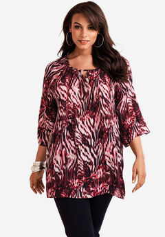 Pleated Keyhole Tunic, PINK ANIMAL PRINT, hi-res