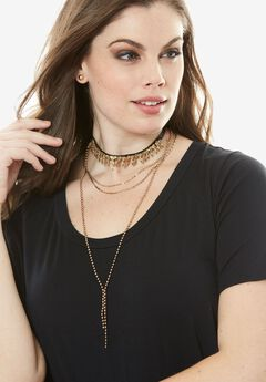 Leather-backed Choker, GOLD, hi-res