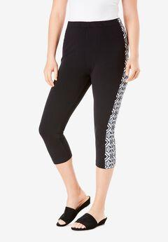 Essential Stretch Capri Legging, GEO TIE DYE STRIPE