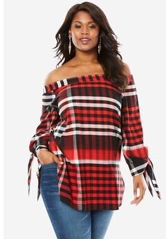 Off-The-Shoulder Tunic, RED PLAID, hi-res