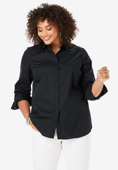Three-Quarter Sleeve Kate Shirt, BLACK