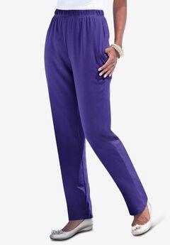 Straight-Leg Soft Knit Pant, GRAPE
