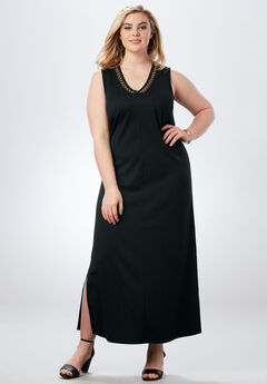 V-Neck Maxi Dress, BLACK