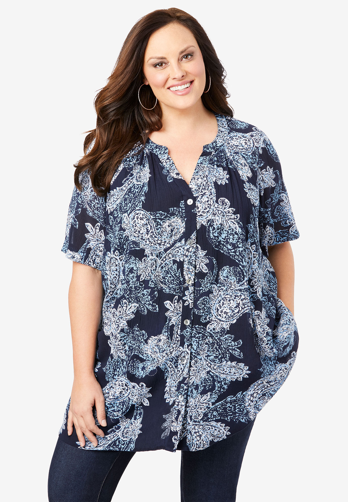 Roamans Womens Plus Size Sheer V-Neck Tunic with High-Low Hem