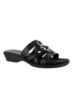 Torrid Sandals by Easy Street®, BLACK CROCO, hi-res