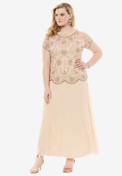 Embellished Bodice A-Line Dress by Pisarro Nights, BLUSH, hi-res