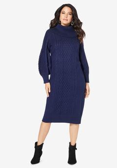 Turtleneck Sweater Dress, NAVY