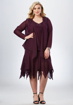 Beaded Jacket Dress, WINTER PLUM, hi-res
