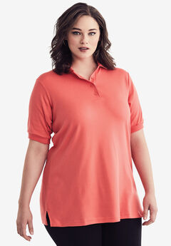 Oversized Polo Tunic, DUSTY CORAL, hi-res