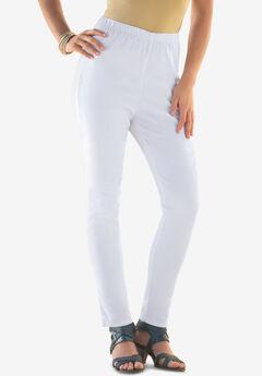 Skinny Pull-On Stretch Pant by Denim 24/7®, WHITE DENIM
