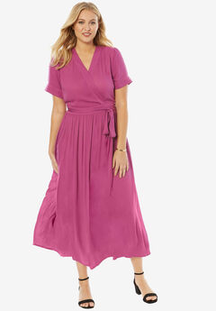 Maxi Wrap Dress, RASPBERRY, hi-res